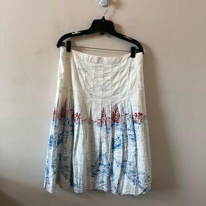 Tommy Hilfiger White Full Skirt Cityscape-Size 16